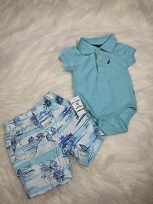Nautica Baby Boy One piece Blue Polo With Matching Shorts Summer 0/3 Months