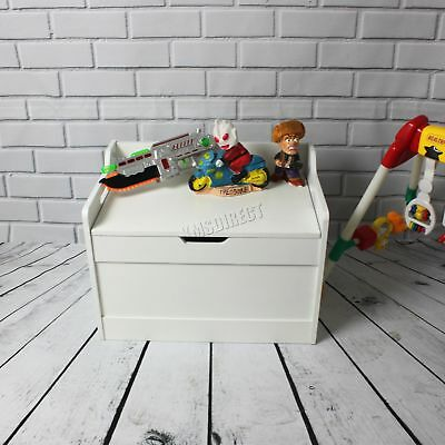 FoxHunter Kid Children Toy Storage Organiser Box Chest Lid Bench MDF TSB01 White