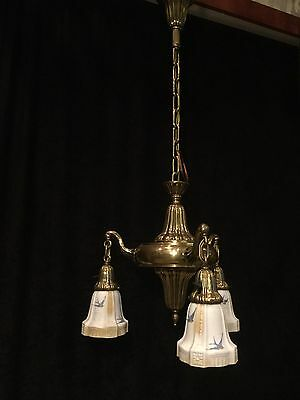Antique Sheffield Chandelier Art Nouveau Rare Brass 3 Light Blue Bird Shade