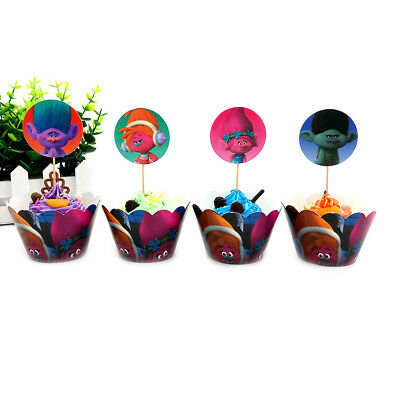Trolls Theme Cake Accessories Cupcake Wrapper & Topper for Children Kids Party