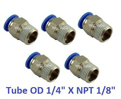 """5pcs Male Straight Connector Tube OD 1/4"""" X NPT 1/8"""" Push In To Connect Fitting"""