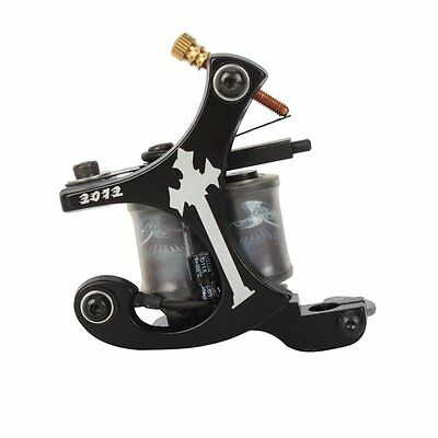 New Black 10 Wrap Coils Iron Alloy Tattoo Machine Shader Gun F7X4