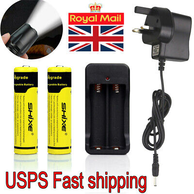 2x 18650 Battery and Charger 4200mAh For Flashlight Headlight UK Sell New