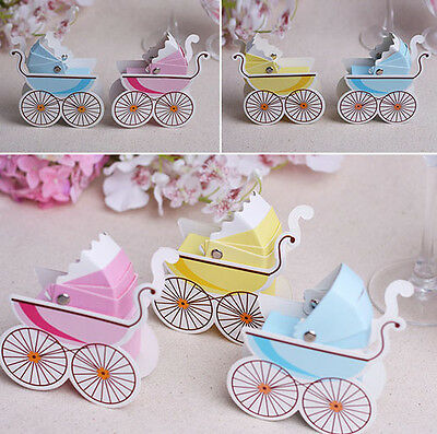 1/10/50/100 Baby Shower Pram Carriage Paper Candy Boxes Christening Party Favour
