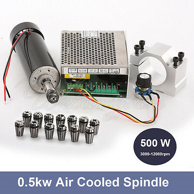 110V/220V CNC 500W Air Cooling Spindle Motor + 52mm Clamps + Speed Governor ER11