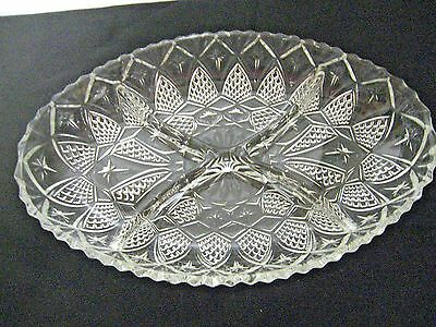 Older Pressed Glass 4-part Oval Relish Tray Server-Criss Cross & Star Patterns