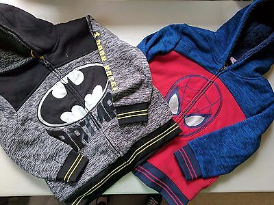 Boys Marvel Superhero Character Sherpa Lined Hoodie Jacket Spiderman, Batman