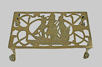 Antique C. 1930 Reticulated Brass Trivet, Nautical Theme, English.