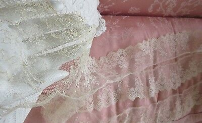 "Antique Blonde Chantilly Lace 4"" wide x 3 Yards French Doll Trim Flowers & Bows"