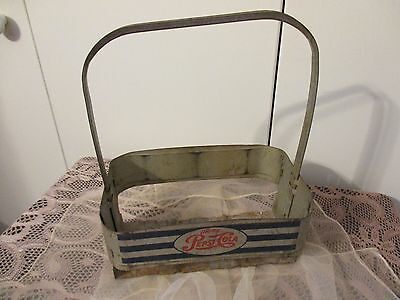 Vintage Art Deco Style Pepsi-Cola Metal Bottle Holder Carrier Caddie Six Pack