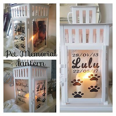 Pet memorial lantern indoor outdoor candle personalised dog cat grave