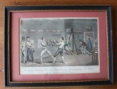 Original Antique Boxing Print. Art of Self Defense Etching Cruikshank c1820