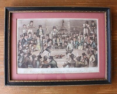 Original Antique Cock Fighting Print. Royal Cock-Pit Etching Cruikshank c1821