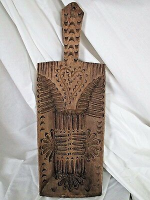 Antique Tramp Art - Rare Bread Server - Wall Hanging -- Great Carving w Heart