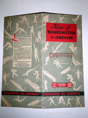 """RARE 1930 Hwy Road Maps ~""""ASSOCIATED OIL Co."""" Gasoline CYCOL athletes WA OR"""