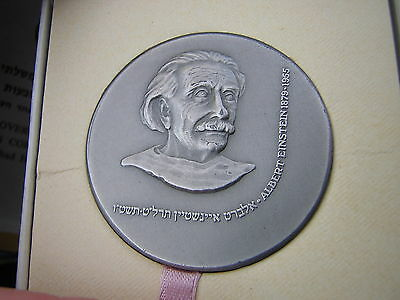 Scarce BOXED State of Israel .935 Sterling Silver Medal ALBERT EINSTEIN