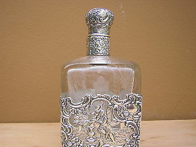 Rare Antique Victorian Ornate Repousse Sterling Silver Crystal Decanter Bottle