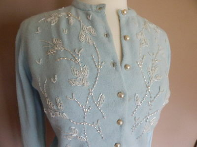 Vintage 1950s Baby Blue Cardigan Sweater w Pearls & Beads S M
