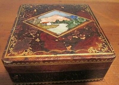 Vintage Italian Marble Mosaic Pietra Dura Leather Box With Hinged Lid