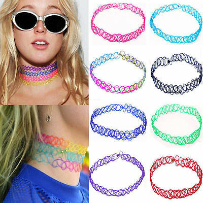 12pcs Vintage Stretch Tattoo Lace Choker Necklace Retro Gothic Elastic Jewelry