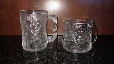 1995 Mcdonald's Batman Forever Set Of 2 Glass Mugs - The Riddler And Robin - New