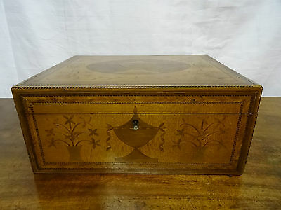 RARE 18thc GEORGE III SATINWOOD MARQUETRY & PARQUETRY LADIES WRITING BOX CHEST