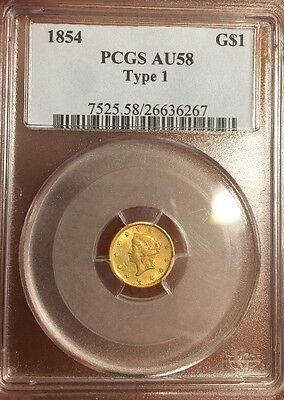 1854 Type 1 One $1 Dollar Gold ~ PCGS AU 58