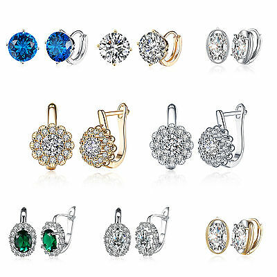 Women's Delicate Noble Natural Diamond Earrings Elegant Zircon Ear Stud Jewelry