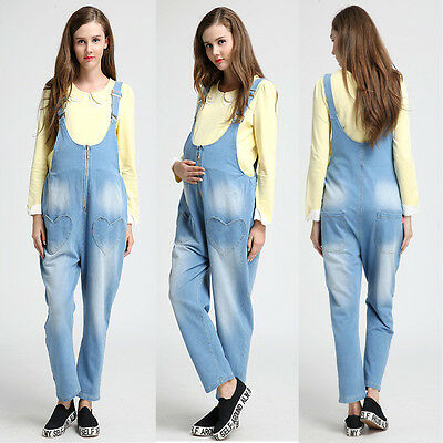 Denim Overalls Pants Jeans Jumpsuits Trousers Pregnancy Maternity Cute M/L/XL