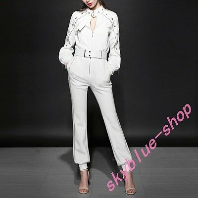 fbbbdf98cb01 Womens Jumpsuits Long Sleeve Hollow Out Slim Fit Stand Collar White Blet  Fashion