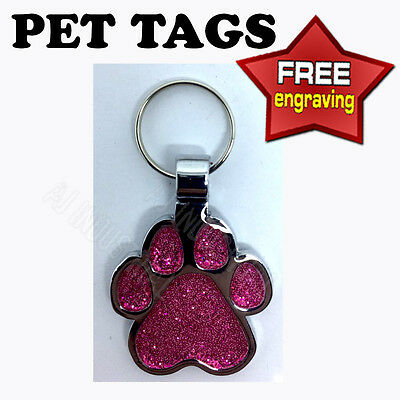 Pink Glitter Paw Personalised Pet ID tag - Cat-Dog  Free Engraving
