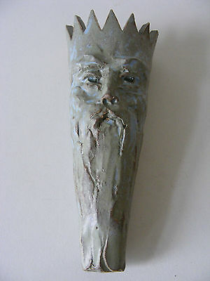 Sculptured Blue/Grey Face Wall Pocket Hand Modelled Stoneware Pottery