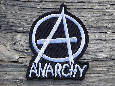 D017 ECUSSON PATCH THERMOCOLLANT aufnaher toppa ANARCHY blanc punk ska biker
