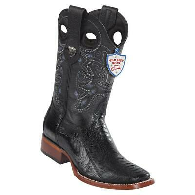 376090db853 MEN'S WILD WEST Cowboy Western Boots Ranch Square Toe Genuine Ostrich Leg