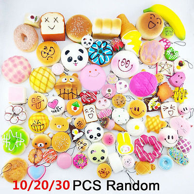 30Pcs Soft Squishy Panda Bread Cake Buns Phone Straps Jumbo Medium Mini Random