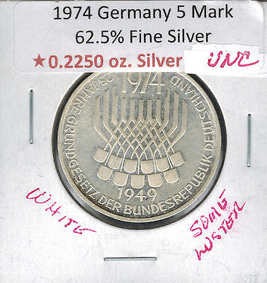 1974 F Germany 5 Mark Olympic Silver White & Luster .2250 ASW Unc