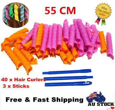 40pcs 55cm DIY Magic Hair Curlers Curl Formers Spiral Styling Leverage Rollers