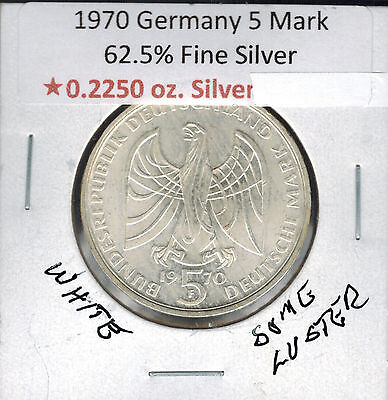 1970 F Germany 5 Mark Olympic Silver White & Some Luster .2250 ASW Unc