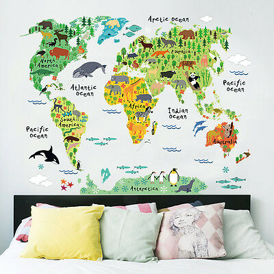 Animal Educational World Map Wall Sticker Decal For Kids Baby Nursery Room Decor