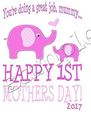 Iron on Transfer MOTHERS DAY PINK BABY GIRL HAPPY FIRST ELEPHANTS 12x15cm