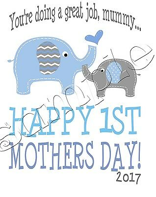 Iron on Transfer MOTHERS DAY BABY BOY HAPPY FIRST ELEPHANT 12x15cm