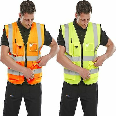 HI VIZ VIS ZIP UP VEST WAISTCOAT with Various POCKETS Yellow or Orange