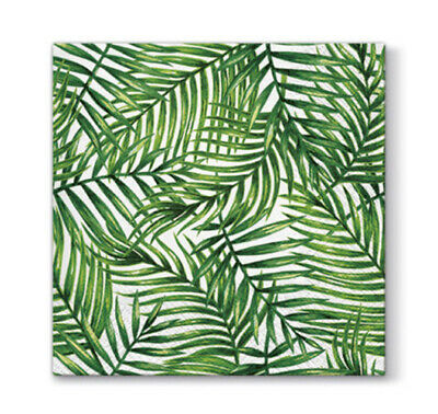 20 Paper Lunch Napkins TROPICAL LEAVES Serviettes - Palm Summer Hawaiian - 3ply
