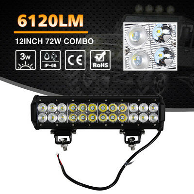 Driving Fog Lamp 72W LED Work Light Bar Spot Flood Combo Off-Road Truck SUV 4WD