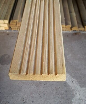 "TANALISED REDWOOD DECKING BOARDS 5"" x 1"" x 14ft (120mm x 28mm x 4.2m)"