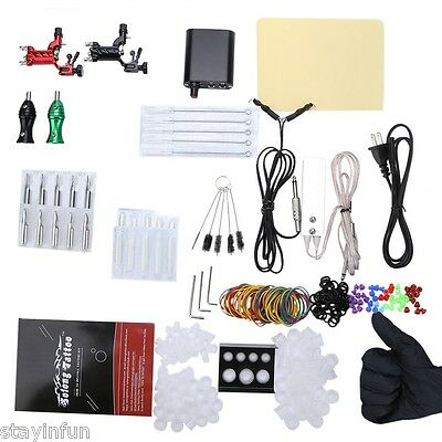 Solong Tattoo Kits 2 Rotary Machine Guns Power Supply for Beginner TWO PIN US
