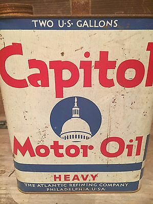 Capital Motor Oil Can Atlantic Refining Company Two Gallon