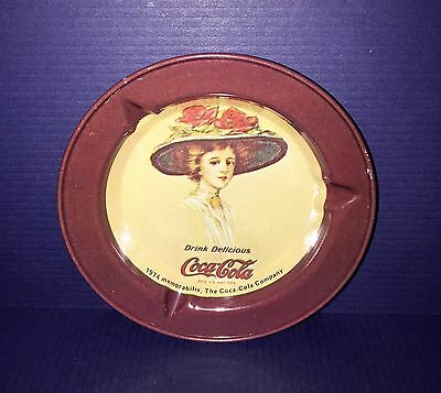 Vintage 1974 Memorabilia COCA-COLA Tin Ashtray - Victorian Lady Profile - UNUSED