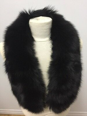 "NEW BLACK FOX FUR MEN SCARF COLLAR Length 40 "" Inch Clasp"