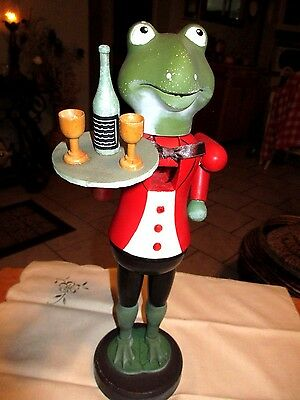Frog Wine Server Wood Nutcracker  Tie Bobs Up & Down Rare 14""